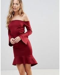 dunkelrotes figurbetontes Kleid von Oh My Love