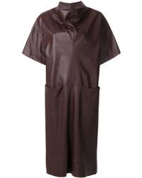 dunkelrotes gerade geschnittenes Kleid aus Leder von Maison Margiela