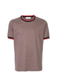 dunkelrotes horizontal gestreiftes T-Shirt mit einem Rundhalsausschnitt von Cerruti 1881