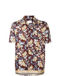 dunkelrotes Kurzarmhemd mit Blumenmuster