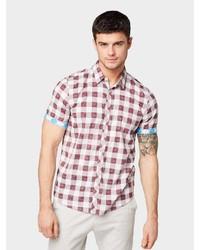 dunkelrotes Kurzarmhemd mit Schottenmuster von Tom Tailor