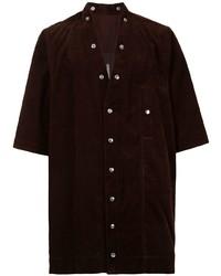 dunkelrotes Kurzarmhemd von Rick Owens