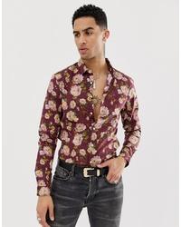 dunkelrotes Langarmhemd mit Blumenmuster von ASOS DESIGN