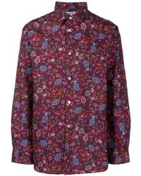 dunkelrotes Langarmhemd mit Blumenmuster von Comme Des Garcons SHIRT