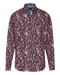 dunkelrotes Langarmhemd mit Blumenmuster von Daniel Hechter