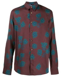 dunkelrotes Langarmhemd mit Blumenmuster von PS Paul Smith