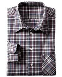 dunkelrotes Langarmhemd mit Schottenmuster von Classic