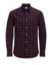 dunkelrotes Langarmhemd mit Schottenmuster von Jack & Jones