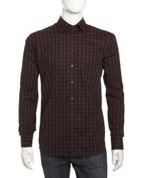 dunkelrotes Langarmhemd mit Vichy-Muster