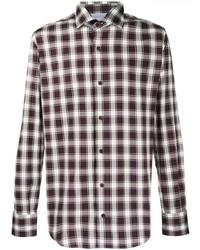 dunkelrotes Langarmhemd mit Vichy-Muster von Eleventy