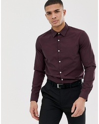 dunkelrotes Langarmhemd von Pier One