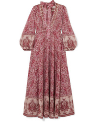 dunkelrotes Maxikleid mit Paisley-Muster