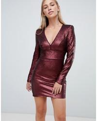 dunkelrotes figurbetontes Kleid aus Pailletten von Forever New