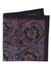 dunkelrotes Seide Einstecktuch mit Paisley-Muster