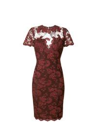 dunkelrotes Spitze figurbetontes Kleid von Olvi´S