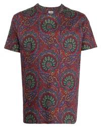 dunkelrotes T-Shirt mit einem Rundhalsausschnitt mit Paisley-Muster von Etro