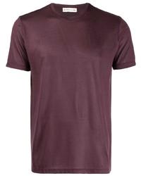 dunkelrotes T-Shirt mit einem Rundhalsausschnitt von Etro