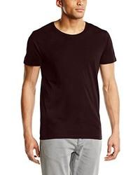 dunkelrotes T-Shirt mit einem Rundhalsausschnitt von Selected Homme