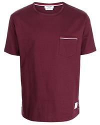 dunkelrotes T-Shirt mit einem Rundhalsausschnitt von Thom Browne