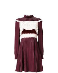 dunkelrotes verziertes ausgestelltes Kleid von Valentino