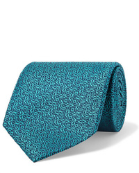 dunkeltürkise bedruckte Krawatte von Charvet