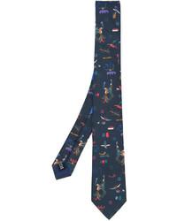 dunkeltürkise bedruckte Krawatte von Salvatore Ferragamo