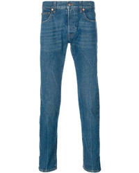 dunkeltürkise bestickte Jeans von Gucci