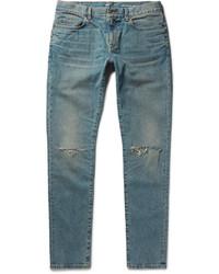 dunkeltürkise enge Jeans mit Destroyed-Effekten von Saint Laurent