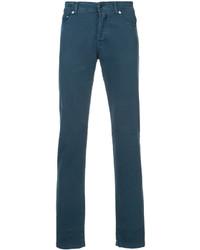 dunkeltürkise enge Jeans von Kiton