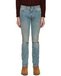 dunkeltürkise enge Jeans von Saint Laurent