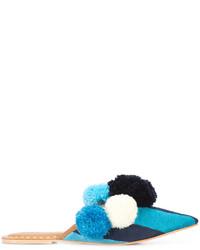 dunkeltürkise horizontal gestreifte flache Sandalen aus Leder von Figue