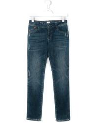 dunkeltürkise Jeans mit Destroyed-Effekten von Armani Junior