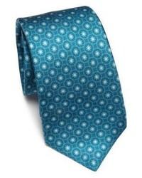 dunkeltürkise Krawatte mit Blumenmuster