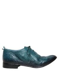 dunkeltürkise Leder Derby Schuhe