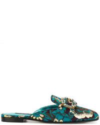dunkeltürkise Leder Pantoletten von Dolce & Gabbana