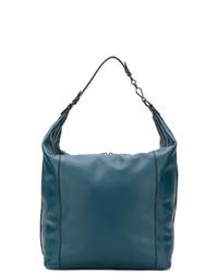 dunkeltürkise Shopper Tasche aus Leder von Bottega Veneta