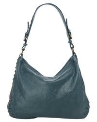 dunkeltürkise Shopper Tasche aus Leder von X-ZONE