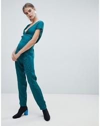 dunkeltürkiser bedruckter Jumpsuit von New Look