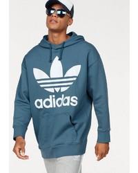 dunkeltürkiser bedruckter Pullover mit einem Kapuze von adidas Originals