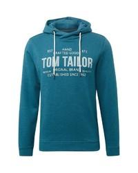 dunkeltürkiser bedruckter Pullover mit einem Kapuze von Tom Tailor