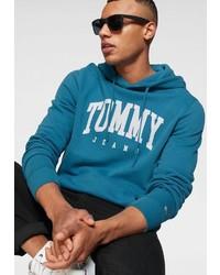 dunkeltürkiser bedruckter Pullover mit einem Kapuze von Tommy Jeans