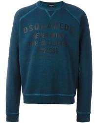 dunkeltürkiser bedruckter Pullover mit einem Rundhalsausschnitt