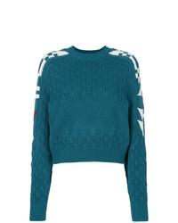 dunkeltürkiser bedruckter Pullover mit einem Rundhalsausschnitt von Isabel Marant