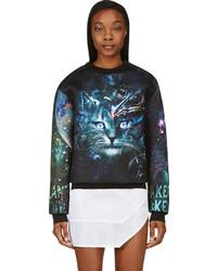 dunkeltürkiser bedruckter Pullover mit einem Rundhalsausschnitt von Juun.J