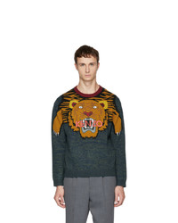 dunkeltürkiser bedruckter Pullover mit einem Rundhalsausschnitt von Kenzo