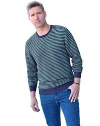 dunkeltürkiser bedruckter Pullover mit einem Rundhalsausschnitt von MARCO DONATI