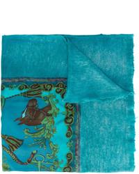 dunkeltürkiser bedruckter Schal von Avant Toi