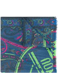 dunkeltürkiser bedruckter Schal von Etro