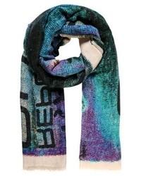 dunkeltürkiser bedruckter Schal von Maison Passage