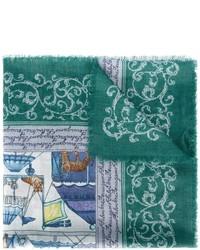 dunkeltürkiser bedruckter Schal von Salvatore Ferragamo